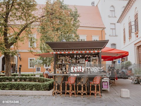 Outdoor bar café on the Castle grounds in Budapest : Stock Photo