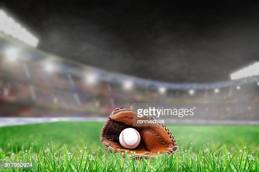 Outdoor Baseball Stadium With Glove and Ball, and Copy Space : Stock Photo