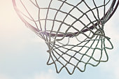 closeup of outdoor basketball hoop net