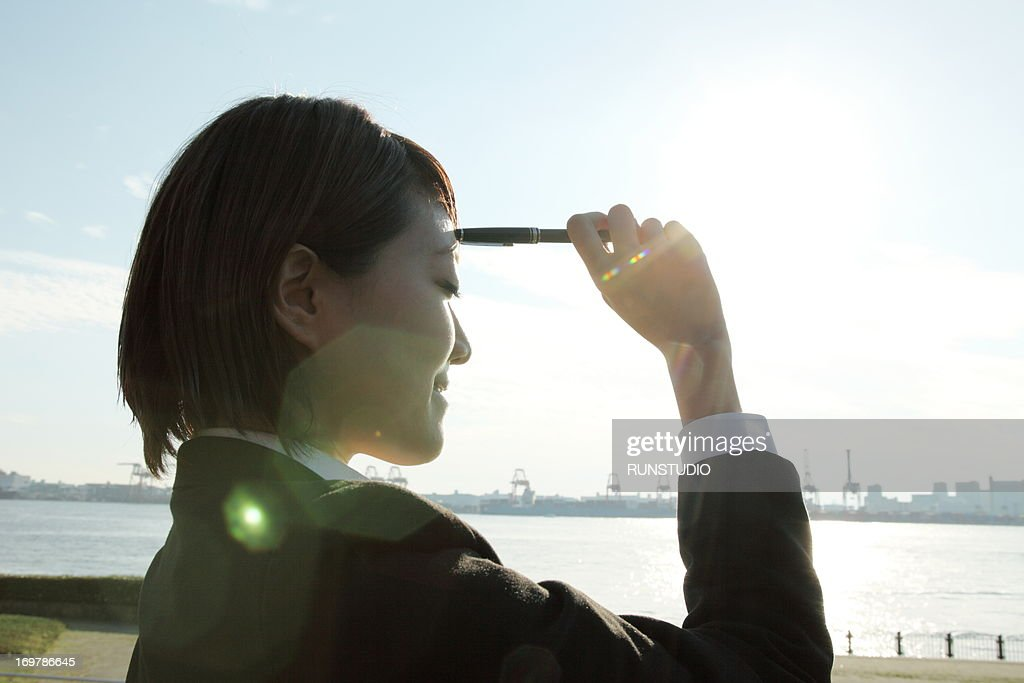 Outdoor business woman : Stock Photo