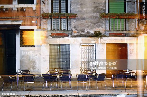 Outdoor cafe at dusk