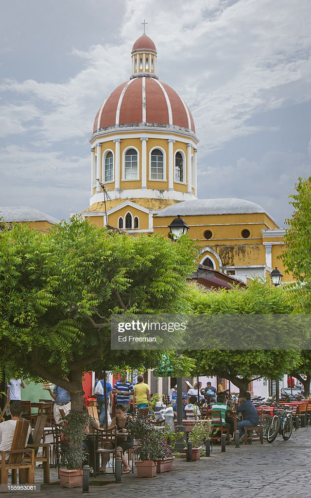 Outdoor Cafes and Cathedral, Nicaragua : Stock Photo