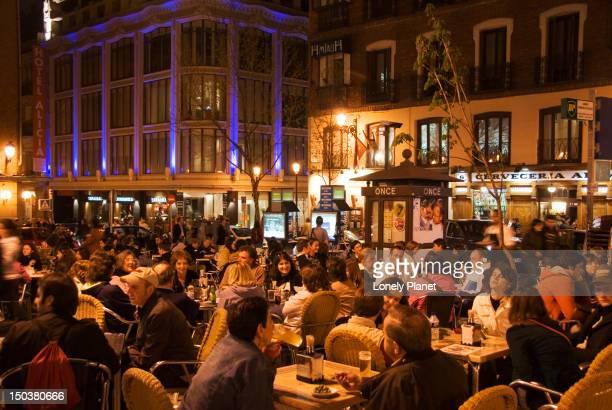Outdoor cafes in Plaza de Santa Ana.
