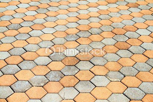 Outdoor Cement Block Floor Texture Stock Photo