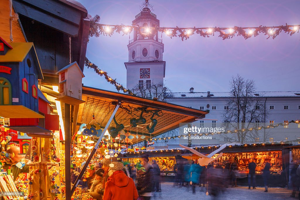 Outdoor Christmas Market Illuminated At Night Stock Photo ...