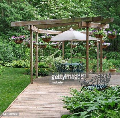Outdoor dining area in a garden : Stock Photo