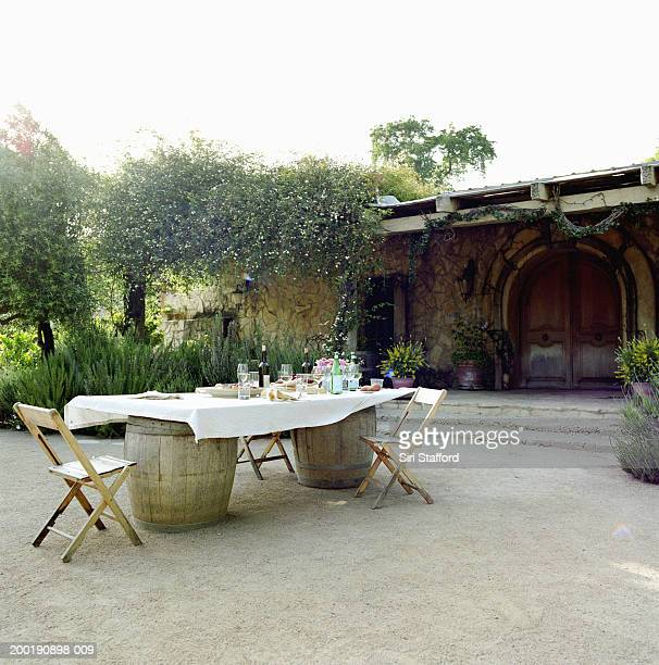 Outdoor dining table after meal