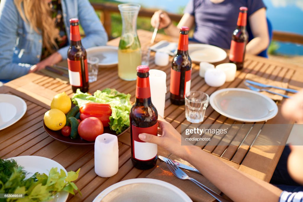 Outdoor dining table : Stock Photo