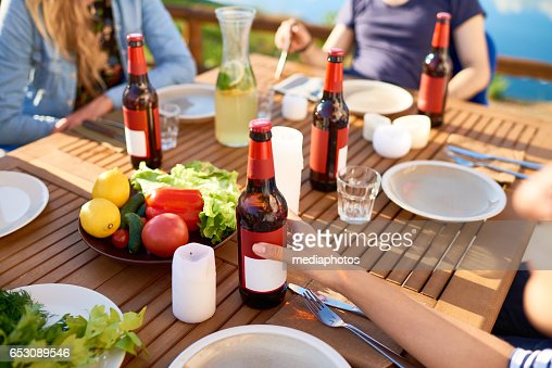 Outdoor dining table : Stockfoto