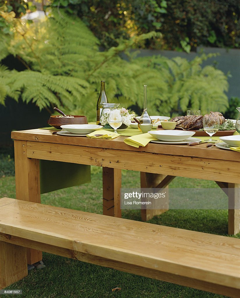 Outdoor dinner table setting stock photo getty images Outdoor dinner table setting