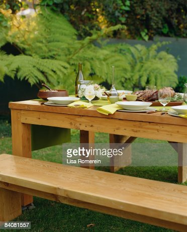 Outdoor dinner table setting : Stock Photo