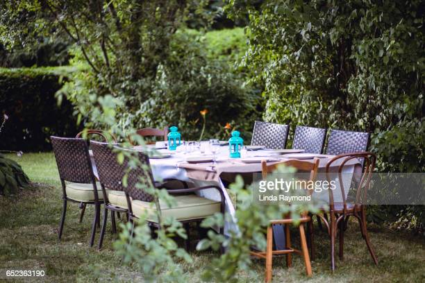 Outdoor dinning table in a garden