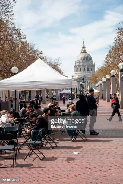 Outdoor eating area in front of City hall San Francisco California