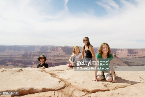 Outdoor family portrait on Red Rock