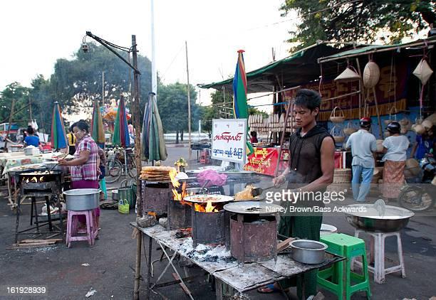 Outdoor Food Market in Mandalay Myanmar.