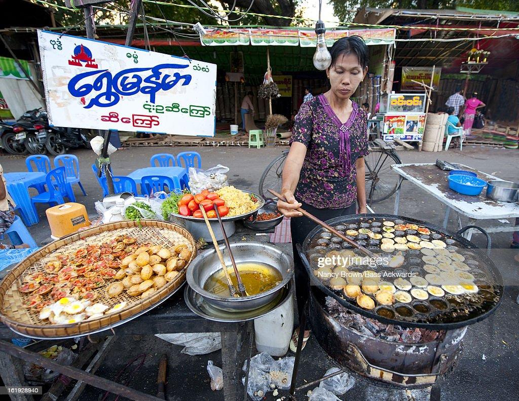 Outdoor food market in mandalay myanmar stock photo for Outdoor food market
