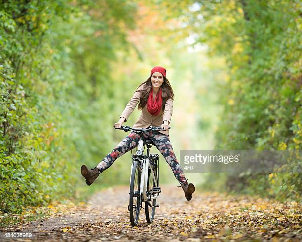 Outdoor Fun, Beautiful Woman on a Bicycle, Autumn Colors