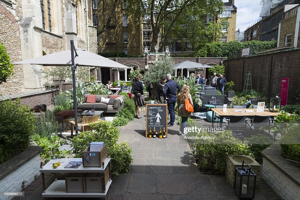 Outdoor garden furniture on display at the Clerkenwell Design Week in London, United Kingdom on May 24, 2016