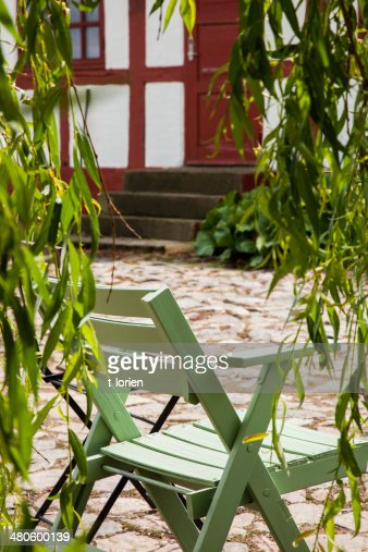 Outdoor green chair : Stock Photo
