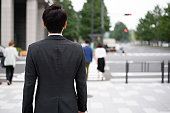 outdoor image of Japanese businessman  photographed in Tokyo Japan, especially around Tokyo Station and business district of Marunouchi