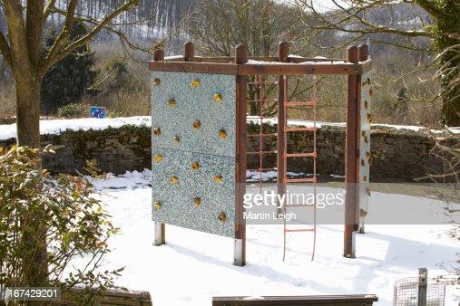 outdoor junior climbing wall : Stock Photo