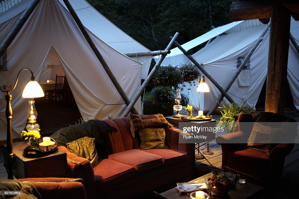 Outdoor living room and tents. : Stock Photo