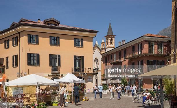 Outdoor market in a village on Lake Como