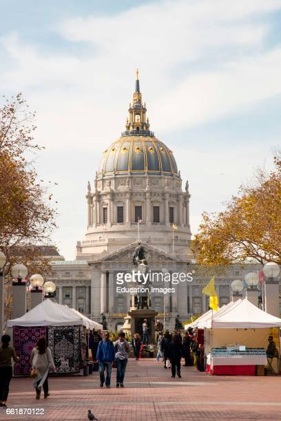 Outdoor market in front of City hall San Francisco California