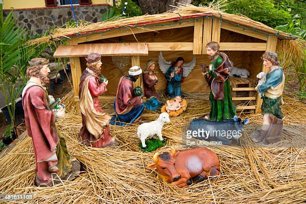 Outdoor Nativity scene beside the road at Christmas on Canouan Island in The Grenadines