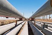 detail of steel light pipeline in oil refinery