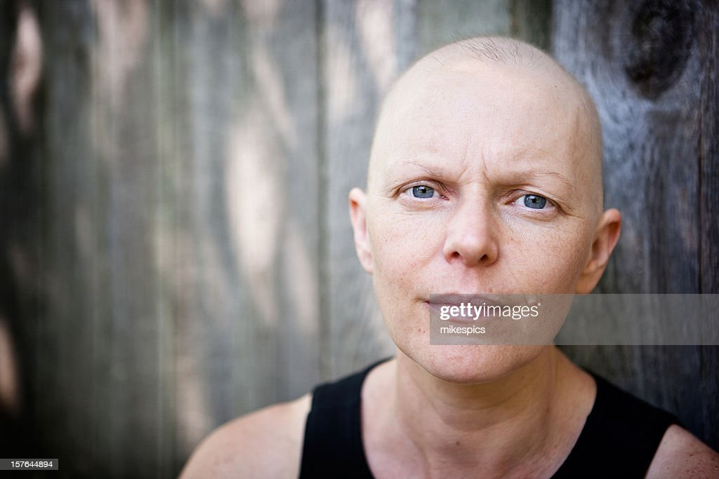 Outdoor portrait of a caucasian woman fighting breast cancer