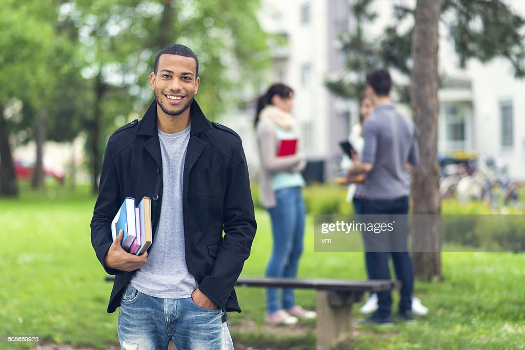 Outdoor Portrait of a College Boy : Stock Photo