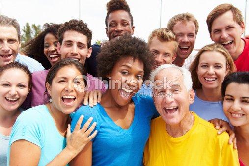 Outdoor Portrait Of Multi-Ethnic Crowd