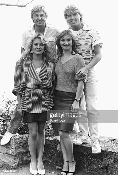 Outdoor portrait of pop group 'Bucks Fizz' Jay Aston Bobby G Cheryl Baker and Mike Nolan circa 1985