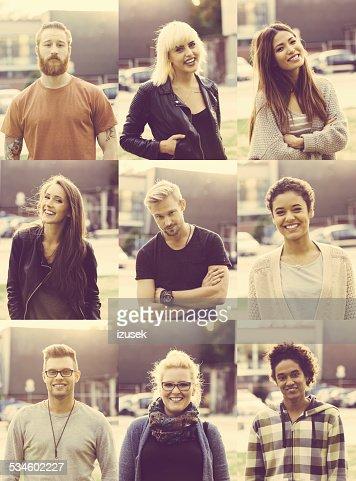 Outdoor portraits of nine mixed race young poeple