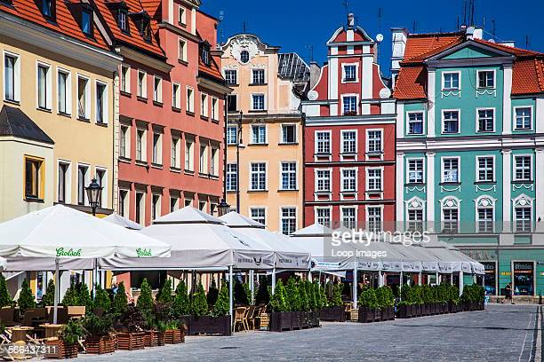 Outdoor restaurant bar and medieval houses in Wroclaw's old town Market Square or Rynek