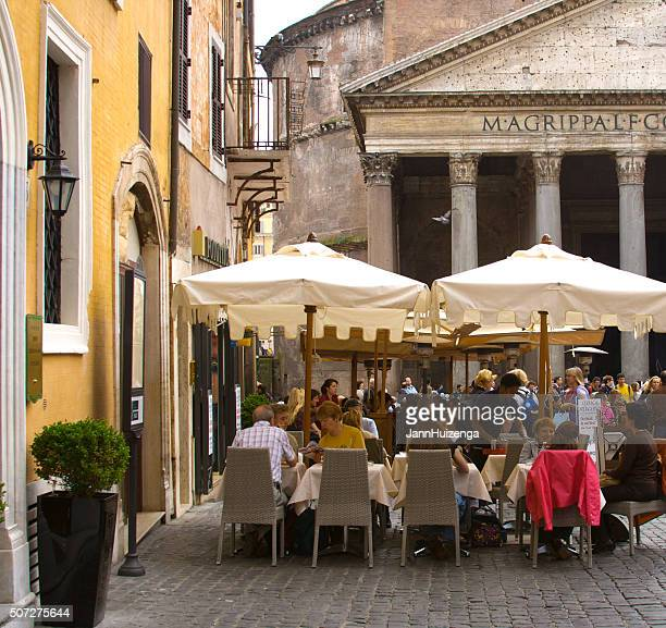 Outdoor Restaurant with Umbrellas at the Pantheon, Rome, Italy