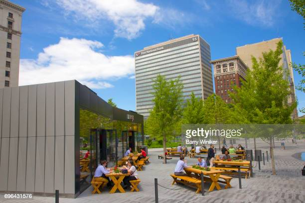 Outdoor seating in Cleveland Public Square