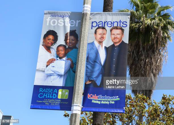 Outdoor shot of the Banner Campaign Art for the reveal of the RaiseAChild's 'Reimagine Foster Parents' campaign at NeueHouse Hollywood on May 1st...