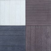 Outdoor porcelain stoneware tiles with wood effect. Samples, close up.