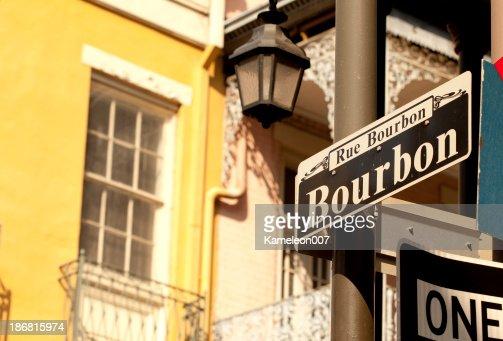 Outdoor street sign on Bourbon Street