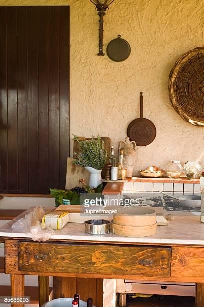Outdoor Tuscan kitchen , Montevettolini , Italy