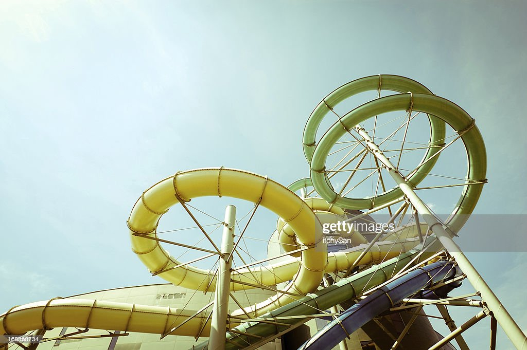 Outdoor waterslides : Stock Photo