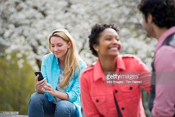 Outdoors in New York City in spring time. New York City park. White blossom on the trees. A woman sitting on a bench holding her mobile phone. A couple beside her.
