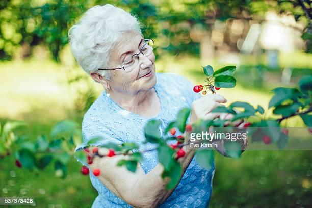 En plein air un beau portrait de femme âgée dans son jardin