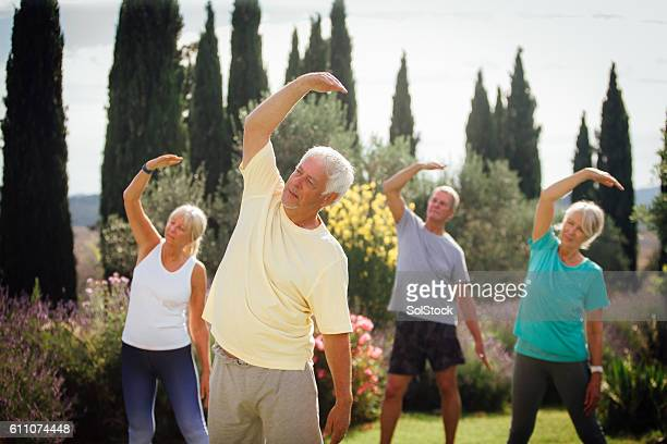 Outdoors Yoga Class with Senior Adults