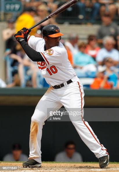 Outfielder Adam Jones of the Baltimore Orioles bats against the New York Mets during a Grapefruit League Spring Training Game at Ed Smith Stadium on...