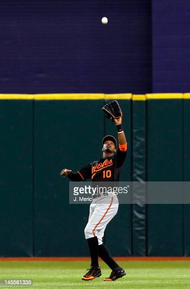 Outfielder Adam Jones of the Baltimore Orioles catches a fly ball against the Tampa Bay Rays during the game at Tropicana Field on June 1 2012 in St...