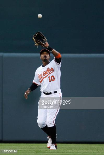 Outfielder Adam Jones of the Baltimore Orioles makes a catch against the Toronto Blue Jays at Oriole Park at Camden Yards on April 23 2013 in...