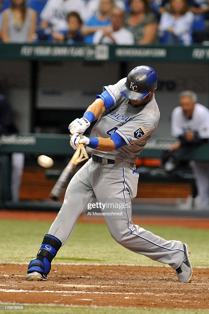 Outfielder <a gi-track='captionPersonalityLinkClicked' href=/galleries/search?phrase=Alex+Gordon+-+Baseball+Player&family=editorial&specificpeople=4494252 ng-click='$event.stopPropagation()'>Alex Gordon</a> #4 of the Kansas City Royals breaks a bat against the Tampa Bay Rays June 14, 2013 at Tropicana Field in St. Petersburg, Florida.